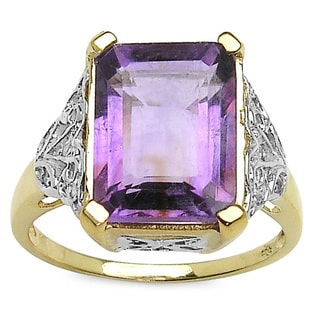 14k Goldplated Sterling Silver Octagon Amethyst White Topaz Ring