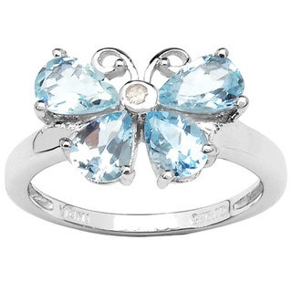 Sterling Silver Aquamarine White Topaz Butterfly Ring