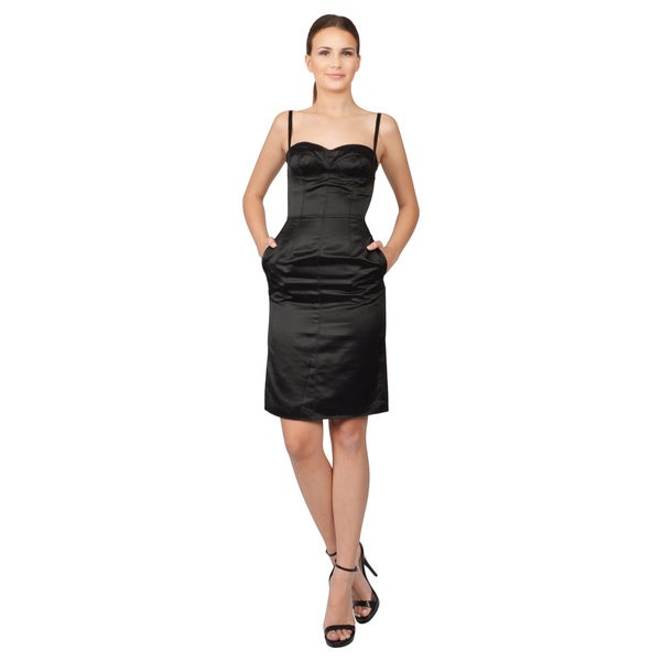 Dolce & Gabbana Black Silk Sateen Empire Waist Bustier Party Dress