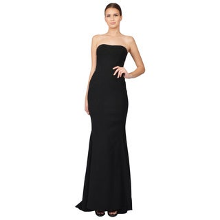 Zac Posen Black Woven Strapless Trumpet Evening Gown