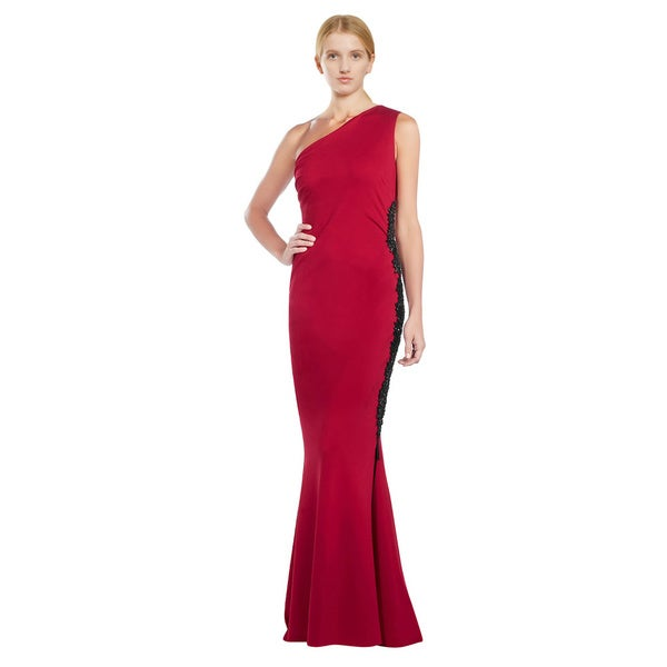 Escada Ruby Red Beaded One Shoulder Evening Gown