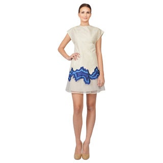 Phillip Lim Jacquard Embroidered Geode Flounce Cocktail Dress