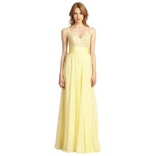 La Femme Lemon Yellow Sleeveless Organza Evening Gown