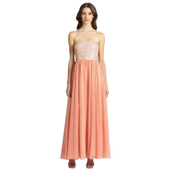 Aidan Mattox Coral Blush Embellished Chiffon Strapless Gown