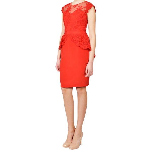 Marchesa Notte Red Floral Lace Peplum Evening Dress