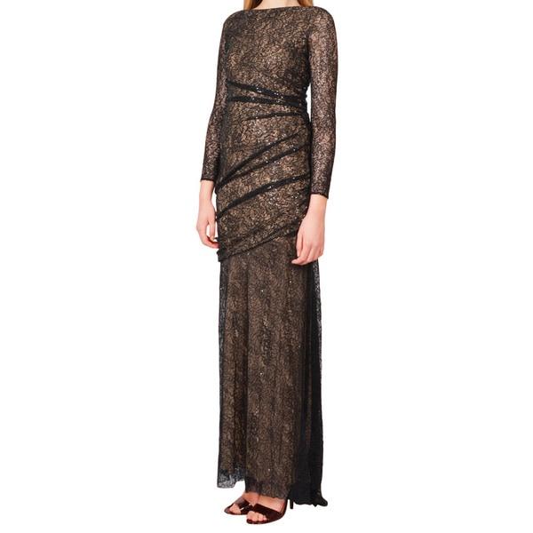 Carmen Marc Valvo Black Lace Contrast Mermaid Evening Gown