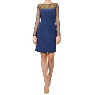 Marchesa Notte Blue Beaded Illusion Cocktail Dress