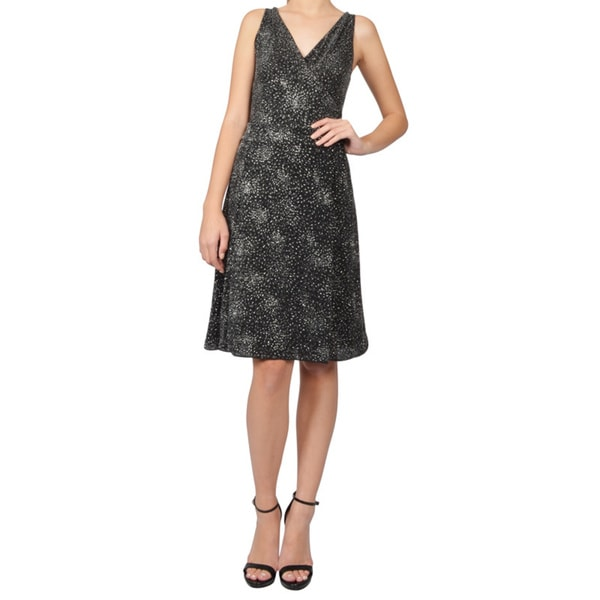 Armani Collezioni Black and Silver Starburst Design Cocktail Dress
