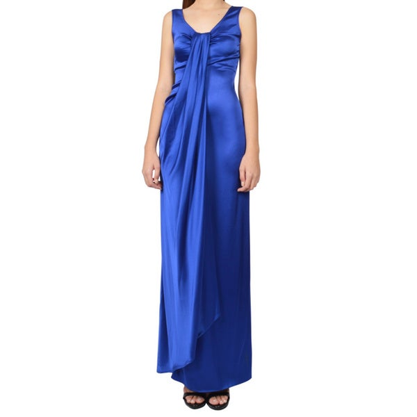 St. John Blue Draped Satin Faux Wrap Gown