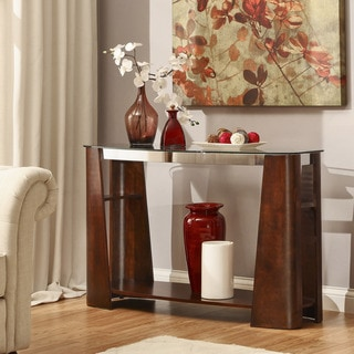 Glenwood Rectangle Brown Console Sofa Table With Storage Glass Top