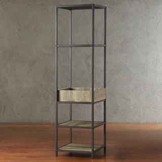Sadie Industrial Rustic Open Crate Shelf Media Tower