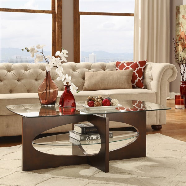 Myrtle Cappuccino Glass-top Cross Leg Oval Shelf Coffee Table