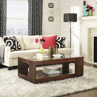 Essex Brown Rectangle Wood Glass Coffee Table with Shelf