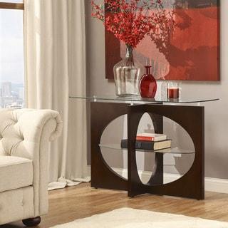 Myrtle Cappuccino Glass-top Cross Leg Oval Shelf Console Sofa Table