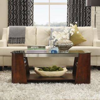 Glenwood Rectangle Brown Coffee Table With Storage Glass Top