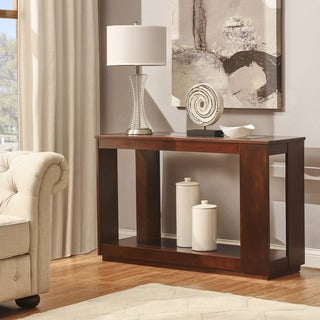 Essex Brown Rectangle Wood Glass Console Sofa Table with Shelf