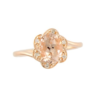 Rose Gold over Silver 0.90ct TGW Morganite and Diamond Ring