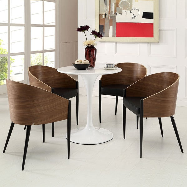 Cooper Walnut Veneer Wrap-around Dining Chairs (Set of 4)