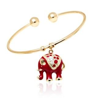 Peermont Jewelry 18k Gold-plated Goldtone/ Red Elephant Charm Bangle