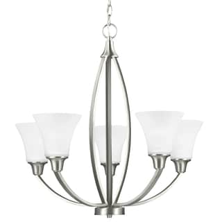 Metcalf Five Light Chandelier in Brushed Nickel with Satin Etched Glass