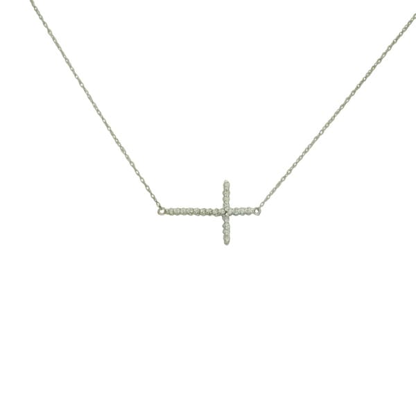 14k White Gold Diamond Accent Sideways Cross Necklace