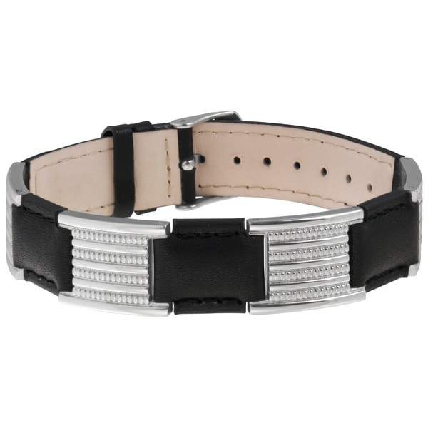 Sabona Stainless Steel Black Leather Magnetic Bracelet