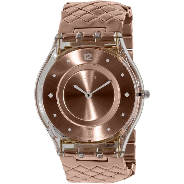 Swatch Women's SFK389GB Rose Gold Braided Band Swiss Quartz Watch
