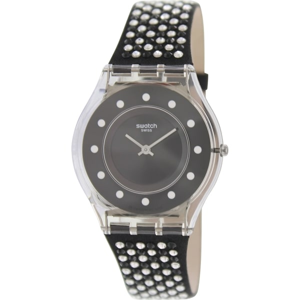 Swatch Women's Skin SFM128 Black Leather Swiss Quartz Watch