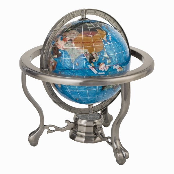 Aqua Globe Pewter Stand with Compass
