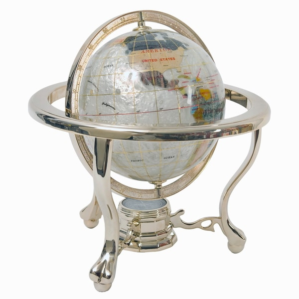 Mother of Pearl Globe on 3-legged Pewter Stand (220mm)