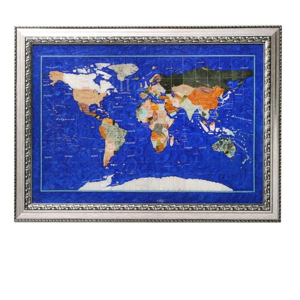 Genuine Gemstone Lapis Wall Map with Brushed Silver Frame