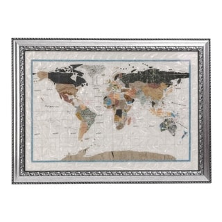 Genuine Mother of Pearl Wall Map with Brushed Silver Frame