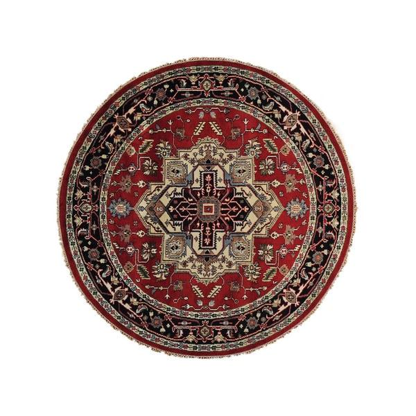Round Oriental Tribal Serapi Heriz Hand-Knotted Rug (8' x 8') 14988519