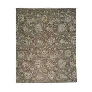 Oversize Handmade Taupe Transitional Oriental Rug (11'8 x 14'5)