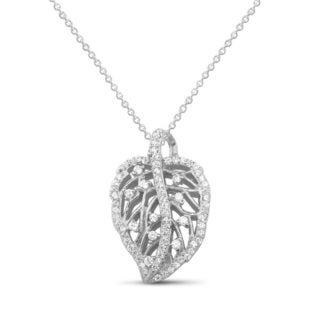 Sterling Silver Cubic Zirconia Leaf Necklace