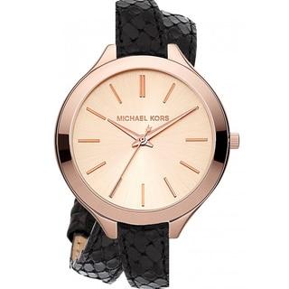 Michael Kors MK2322 Women's Rose Goldtone Black Slim Runway Watch