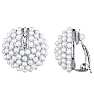 Silvertone Pearl Cluster Button Clip-on Earrings