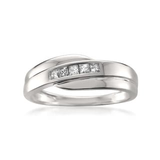 14k White Gold Men's 1/4ct TDW Princess-cut Diamond Wedding Band (H-I, I1)