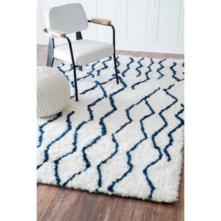 nuLOOM Soft and Plush Moroccan Trellis Blue Shag Rug (5' x 8')