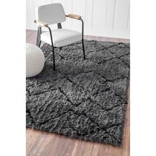 nuLOOM Soft and Plush Moroccan Trellis Grey Black Shag Rug (9' x 12')