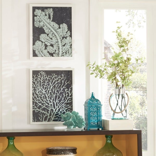 Coral Silk Screen on Glass Shadow Box Wall Art (Set of 2)