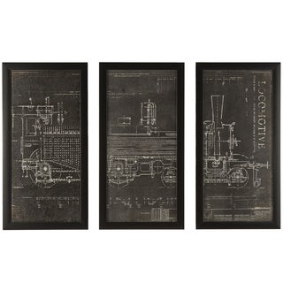 """Locomotive Train"" Wrapped Giclee Canvas Framed Wall Art (Set of 3)"