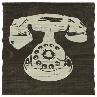 White Phone Silk Screen on Wood Wall Art