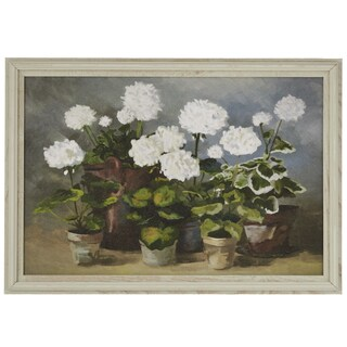 'White Geraniums' Wrapped Giclee Canvas Framed Wall Art