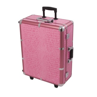 Sunrise Pink Crocodile Professional Rolling Studio Makeup Case