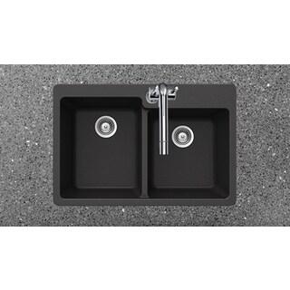 Houzer Cristaliteplus Drop-in Nero Granite Kitchen Sink