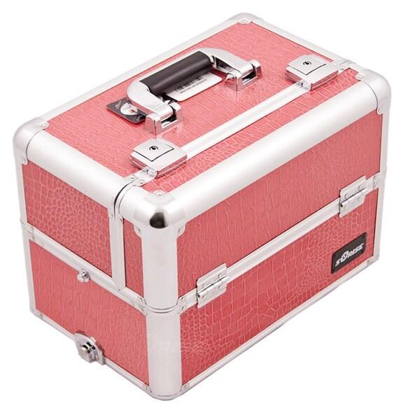 Sunrise Hot Pink Crocodile Aluminum Makeup Case
