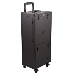 Sunrise All Black Rolling Aluminum Makeup Case