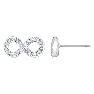 Silvertone Cubic Zirconia Infinity Stud Earrings