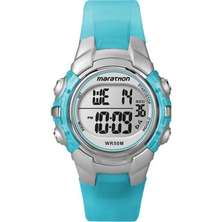 Timex T5K817M6 Unisex Marathon Digital Mid-size Light Blue/ Silvertone Watch